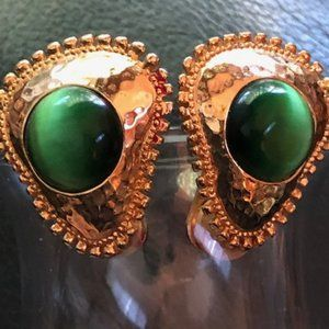 Golden color and green clip on earrings
